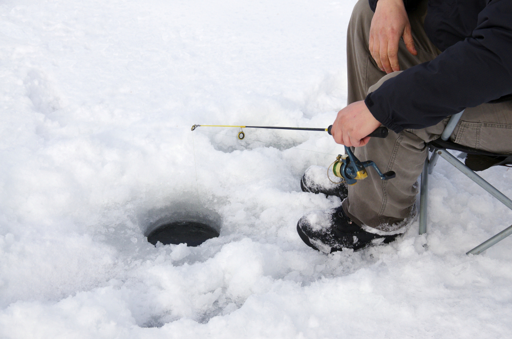 Relaxing ice fishing