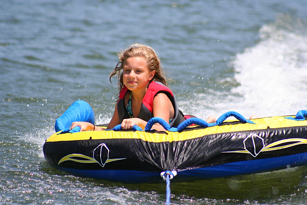 Tubing on the lake.