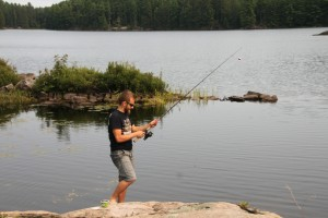 Fishing from the shore.
